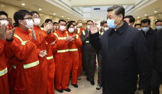 In this photo released by Xinhua News Agency, Chinese President Xi Jinping visits the Chuanshan port area of the Ningbo-Zhoushan Port in east China's Zhejiang Province, Sunday, March 29, 2020. Authorities in China are working to restart its industries as number of new coronavirus cases and deaths fall in the country. (Ju Peng/Xinhua via AP)
