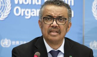 In this Feb. 24, 2020, photo, Tedros Adhanom Ghebreyesus, director-general of the World Health Organization (WHO), addresses a press conference about the update on COVID-19 at the World Health Organization headquarters in Geneva. (Salvatore Di Nolfi/Keystone via AP) **FILE**