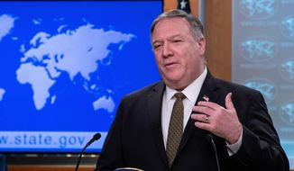"""Secretary of State Mike Pompeo, demanding access to the Wuhan Institute of Virology, said, """"Remember, this isn't the first time we've had a virus come out of China."""" (Associated Press)"""
