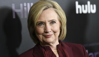 "This March 4, 2020, file photo shows former Secretary of State Hillary Clinton at the premiere of the Hulu documentary ""Hillary"" in New York. (Photo by Evan Agostini/Invision/AP, File)"