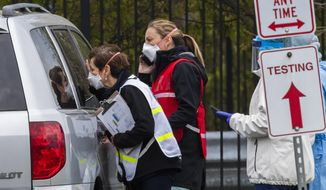 Medical personnel from Montgomery County, Md., check patients arriving for a COVID-19 drive-in testing in Silver Spring, Md., Tuesday, April 21, 2020.  (AP Photo/Manuel Balce Ceneta)  **FILE**