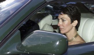 In this Sept. 2, 2000, file photo, British socialite Ghislaine Maxwell, driven by Britain's Prince Andrew leaves the wedding of a former girlfriend of the prince, Aurelia Cecil, at the Parish Church of St Michael in Compton Chamberlayne near Salisbury, England. The FBI said Thursday, July 2, 2020, Ghislaine Maxwell, who was accused by many women of helping procure underage sex partners for Jeffrey Epstein, has been arrested in New Hampshire. (Chris Ison/PA via AP, File)
