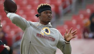 In this Dec. 22, 2019, file photo, Washington Redskins quarterback Dwayne Haskins works out prior to an NFL football game against the New York Giants, in Landover, Md. A new name must still be selected for the Washington Redskins football team, one of the oldest and most storied teams in the National Football League, and it was unclear how soon that will happen. But for now, arguably the most polarizing name in North American professional sports is gone at a time of reckoning over racial injustice, iconography and racism in the U.S. (AP Photo/Alex Brandon) ** FILE **