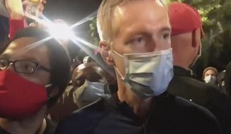 In this image made from video released by Karina Brown, Portland Mayor Ted Wheeler, right, stands at a fence guarding a federal courthouse as tear gas drifts by early July 23, 2020, in Portland Oregon, during another night of protest against the presence of federal agents sent by President Donald Trump to quell unrest in the city. (Karina Brown via AP)