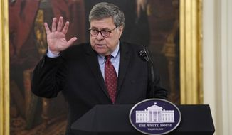 """Attorney General William Barr speaks during an event on """"Operation Legend: Combatting Violent Crime in American Cities,"""" in the East Room of the White House, Wednesday, July 22, 2020, in Washington. (AP Photo/Evan Vucci) **FILE**"""