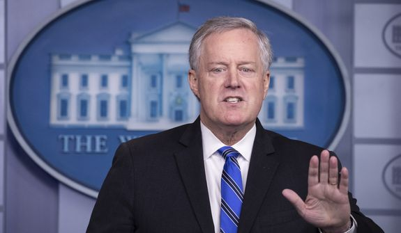 White House Chief of Staff Mark Meadows speaks during a press briefing in the James Brady Press Briefing Room at the White House, Friday, July 31, 2020, in Washington. (AP Photo/Alex Brandon) ** FILE **