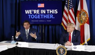 President Donald Trump listens as Florida Gov. Ron DeSantis speaks during a roundtable discussion on the coronavirus outbreak and storm preparedness at Pelican Golf Club in Belleair, Fla., Friday, July 31, 2020. (AP Photo/Patrick Semansky)