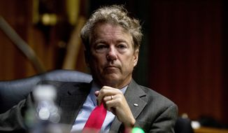 Sen. Rand Paul, R-Ky., appears for a Senate Foreign Relations Committee hearing on Capitol Hill in Washington, Tuesday, Aug. 4, 2020. (AP Photo/Andrew Harnik)