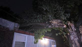 A broken tree lays on a structure in Poquoson, Va., after Tropical Storm Isaias brought dangerous winds and heavy rain over eastern Virginia early Tuesday, Aug. 4, 2020, after making landfall as a hurricane near Ocean Isle Beach, North Carolina. (WVEC-TV via AP)