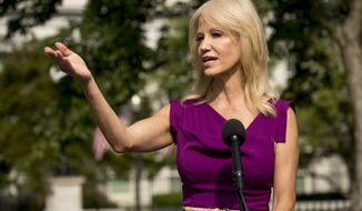 Counselor to the President Kellyanne Conway speaks to reporters outside the West Wing of the White House in Washington, Thursday, Aug. 6, 2020. (AP Photo/Andrew Harnik)