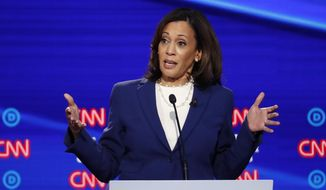 In this Oct. 15, 2019, photo, then-Democratic presidential candidate Sen. Kamala Harris, D-Calif., speaks during a Democratic presidential primary debate in Westerville, Ohio. Democratic presidential candidate former Vice President Joe Biden has chosen Harris as his running mate. (AP Photo/John Minchillo) **FILE**
