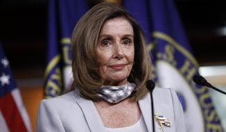 House Speaker Nancy Pelosi of Calif., speaks during a news conference on Capitol Hill in Washington, Thursday, Aug. 13, 2020. (AP Photo/Patrick Semansky)