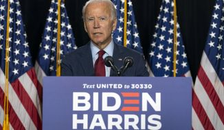 Democratic presidential candidate former Vice President Joe Biden speaks during a news conference at the Hotel DuPont in Wilmington, Del., Thursday, Aug. 13, 2020. (AP Photo/Carolyn Kaster)