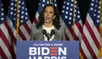 Sen. Kamala Harris, D-Calif., speaks during a news conference with Democratic presidential candidate former Vice President Joe Biden at the Hotel DuPont in Wilmington, Del., Thursday, Aug. 13, 2020. (AP Photo/Carolyn Kaster)