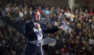FILE - In this Wednesday, Nov. 1, 2017 file photo, Liberty University President Jerry Falwell Jr. speaks at convocation at Liberty University in Lynchburg, Va. On Aug. 7, 2020, Falwell stepped down, at least temporarily, from his role as the president of the school. (Jay Westcott/The News & Advance via AP)