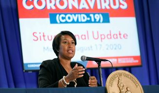District of Columbia Mayor Muriel Bowser speaks at a news conference on the coronavirus outbreak and the District's response, Monday, Aug. 17, 2020, in Washington. (AP Photo/Patrick Semansky)