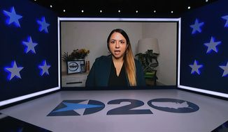 In this image from video, Kristin Urquiza of San Francisco, speaks during the first night of the Democratic National Convention on Monday, Aug. 17, 2020. (Democratic National Convention via AP)