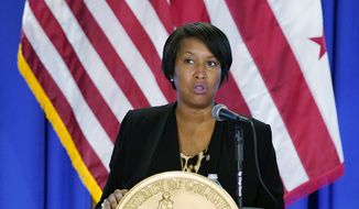 District of Columbia Mayor Muriel Bowser speaks at a news conference on the coronavirus outbreak and the District's response, Monday, Aug. 17, 2020, in Washington. (AP Photo/Patrick Semansky) **FILE**