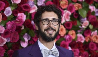 """Josh Groban arrives at the 72nd annual Tony Awards on June 10, 2018, in New York. Groban has a new album """"Harmony"""" due in November and three themed live streaming concerts, starting with a set featuring Broadway tunes in October. (Photo by Evan Agostini/Invision/AP, File)"""