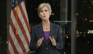 In this image from video, former Acting Attorney General Sally Yates speaks during the second night of the Democratic National Convention on Tuesday, Aug. 18, 2020. (Democratic National Convention via AP)
