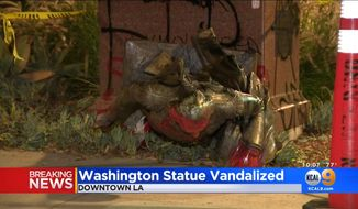A statue of George Washington was torn down in Los Angeles, Aug. 13, 2020. (Image: CBS Los Angeles, KCAL-9 video screenshot)
