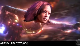 """Sen. Kamala Harris appears as Marvel's """"Captain Marvel"""" in an """"Avengers: Endgame"""" parody by comedian Stephen Colbert, Aug. 17, 2020. (Image: YouTube, """"The Late Show with Stephen Colbert"""" video screenshot)"""