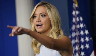 White House press secretary Kayleigh McEnany speaks during a press briefing at the White House, Wednesday, Aug. 19, 2020, in Washington. (AP Photo/Evan Vucci)