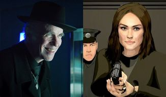 """The mysterious Pallid Man from """"12 Monkeys: The Complete Series"""" and an animated version of Elizebeth Keene in """"The Blacklist: The Complete Seventh Season,"""" both available in the Blu-ray format."""
