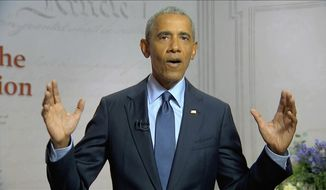 In this image from video, former President Barack Obama speaks during the third night of the Democratic National Convention on Wednesday, Aug. 19, 2020. (Democratic National Convention via AP)