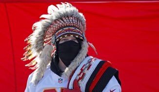 A fan is seen outside Arrowhead Stadium before the NFL AFC Championship football game between the Kansas City Chiefs and the Tennessee Titans Sunday, Jan. 19, 2020, in Kansas City, MO. (AP Photo/Jeff Roberson)  **FILE**