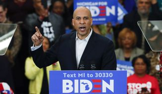 In this March 9, 2020 file photo, Sen. Cory Booker D-N.J., speaks at a campaign rally for Democratic presidential candidate former Vice President Joe Biden at Renaissance High School in Detroit. (AP Photo/Paul Sancya) ** FILE **