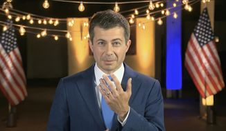 In this image from video, former South Bend Mayor Pete Buttigieg speaks during the fourth night of the Democratic National Convention on Thursday, Aug. 20, 2020. (Democratic National Convention via AP)