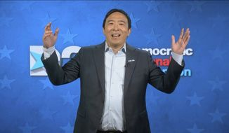 In this image from video, Andrew Yang speaks during the fourth night of the Democratic National Convention on Thursday, Aug. 20, 2020. (Democratic National Convention via AP)