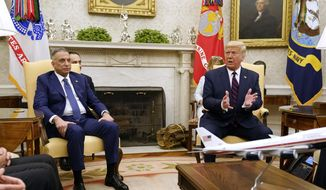 President Donald Trump meets with Iraqi Prime Minister Mustafa al-Kadhimi in the Oval Office of the White House, Thursday, Aug. 20, 2020, in Washington. (AP Photo/Patrick Semansky)