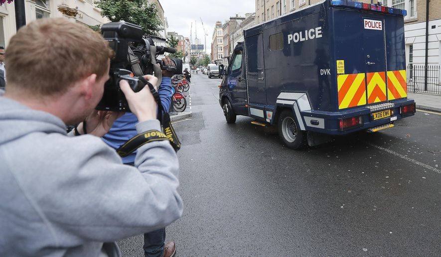 In this file photo dated Thursday, July 18, 2019, a vehicle carrying Hashem Abedi, the brother of Manchester Arena suicide bomber leaves Westminster Magistrates Court in London.  The brother of the suicide bomber who set off an explosion that killed 22 people and injured hundreds at a 2017 Ariana Grande concert in Manchester, England, has been sentenced Thursday, Aug. 20, 2020, to a minimum of 55 years. (AP Photo/Frank Augstein, FILE)