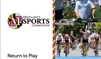 "Depicted is the front cover of Maryland Sports Commission's ""Return to Play"" report on how to safely, in stages, resume recreational sports (www.marylandsports.us)"