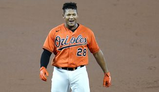 Baltimore Orioles' Pedro Severino reacts after connecting for a single to center field against Boston Red Sox relief pitcher Matt Barnes to bring in teammate Cedric Mullins with the game-winning run in the tenth inning of a baseball game, Saturday, Aug. 22, 2020, in Baltimore. The Orioles won 5-4 in ten innings. (AP Photo/Julio Cortez)