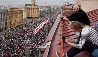 About 200,000 protesters took to Independence Square in Minsk, Belarus, on Sunday. Protesters are demanding the authoritarian president's resignation. They are continuing the dissent since the disputed election. (Associated Press)