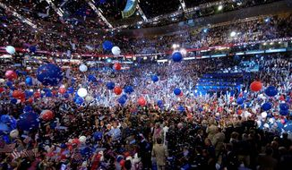 The nominating conventions for the Democrats and Republicans went virtual and balloon-free this year. Convention-goers won't be showered with the traditional balloon-release celebration. (Associated press)