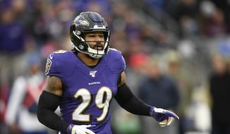 In this Nov. 17, 2019, file photo, Baltimore Ravens free safety Earl Thomas waits for a play during the second half of the team's NFL football game against the Houston Texans in Baltimore. The Baltimore Ravens have terminated the contract of the seven-time Pro Bowl safety, who got involved in a fight with a teammate Friday, Aug. 21, 2020, and did not attend practice Saturday, Aug. 22. (AP Photo/Nick Wass, File)  **FILE**