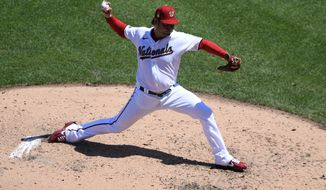 Washington Nationals starting pitcher Anibal Sanchez delivers a pitch during the fourth inning of a baseball game against the Miami Marlins, Sunday, Aug. 23, 2020, in Washington.  (AP Photo/Nick Wass)