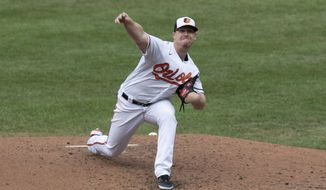 Baltimore Orioles pitcher Tom Eshelman delivers during the second inning of a baseball game against the Boston Red Sox, Sunday, Aug. 23, 2020, in Baltimore. (AP Photo/Tommy Gilligan)