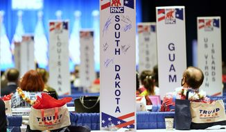 Delegates watch as the roll call vote of states continues after Vice President Mike Pence spoke at the 2020 Republican National Convention in Charlotte, N.C., Monday, Aug. 24, 2020. (AP Photo/Andrew Harnik)