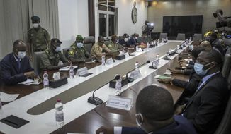 Representatives of the National Committee for the Salvation of the People, left of table, including Col. Assimi Goita, center of row, who has declared himself the group's leader, meet with a high-level delegation from the West African regional bloc known as ECOWAS, right of table, at the Ministry of Defense in Bamako, Mali, Saturday, Aug. 22, 2020. Top West African officials are arriving in Mali's capital following a coup in the nation this week to meet with the junta leaders and the deposed president in efforts to negotiate a return to civilian rule. (AP Photo)