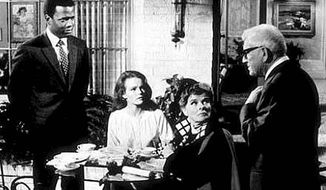"Sidney Poitier, Katharine Houghton, Katharine Hepburn and Spencer Tracy in the interracial romance film ""Guess Who's Coming to Dinner."""