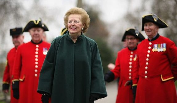 "Former British Prime Minister Margaret Thatcher was praised as a ""lady"" by Roxanne Rivera, a former spokeswoman for the New Mexico Republican Party, ""even while she met the challenges of her office head on."" (Getty Images)"