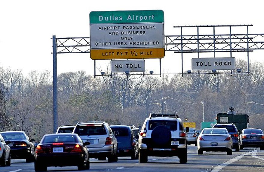 The Dulles Toll Road proved its notoriety for traffic congestion. The Northern Virginia Transportation Authority seeks to levy taxes for road improvements that would ease such commuting hassles. (Barbara L. Salisbury/The Washington Times)