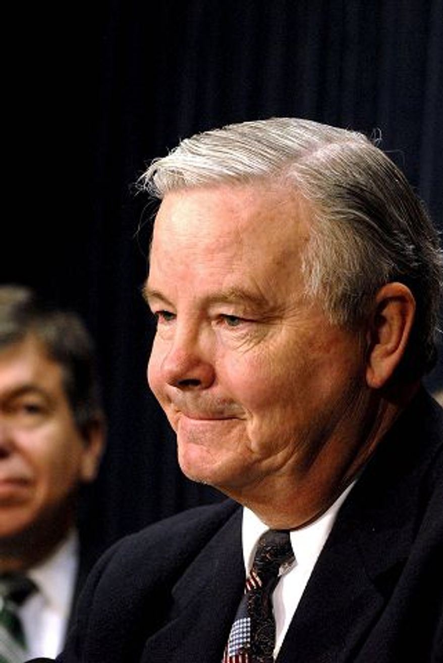 ** FILE ** Ranking Member House Energy and Commerce Committee Rep. Joe Barton (R-TX) fields questions during a press conference at the Capitol in Washington D.C., Thursday December 6, 2007. (Rod Lamkey Jr. / The Washington Times)