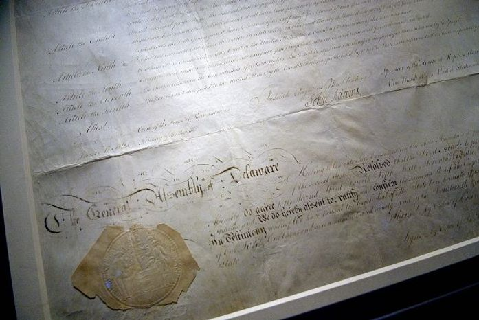 On loan from the National Archives, Delaware's Copy of the Bill of Rights is now on exhibition in the JewelBox Gallery at the Delaware Public Archives in Dover, Del.. Delaware's copy was kept as a Federal record and safely housed for over two hundred years. As a result, the First State's copy of the Bill of Rights is arguably the best preserved copy still in existence. Wednesday, June 20, 2007. (Michael Connor / The Washington Times)
