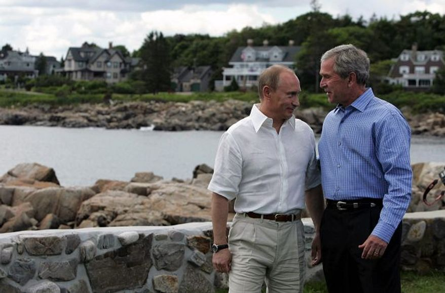 Bloomberg News President Bush and Russian President Vladimir Putin appeared comfortable with each other yesterday in Kennebunkport, Maine. On their second day together, the leaders discussed a planned U.S. missile defense system and Iran's nuclear ambitions.